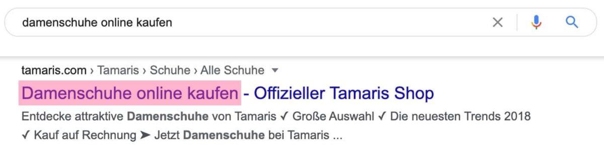 Der Titel einer Seite wird in den Suchergebnissen angezeigt