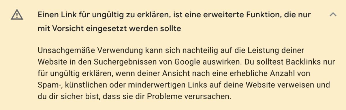Warnhinweis im Disavow-Tool