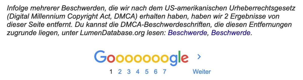 DMCA-Request in der Google-Suche