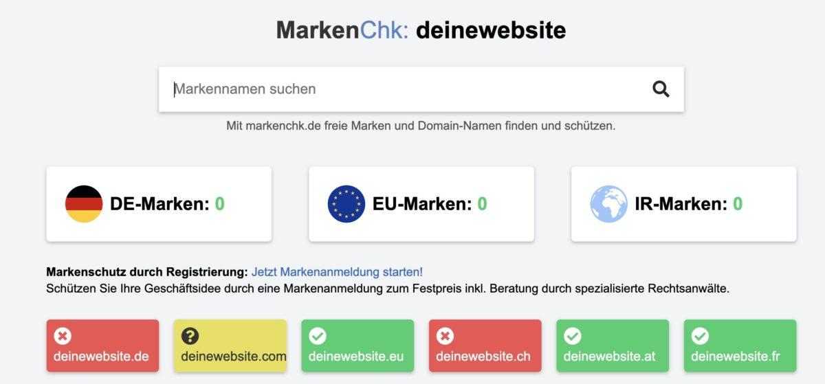 Domain auf Verfügbarkeit und Markennamen überprüfen
