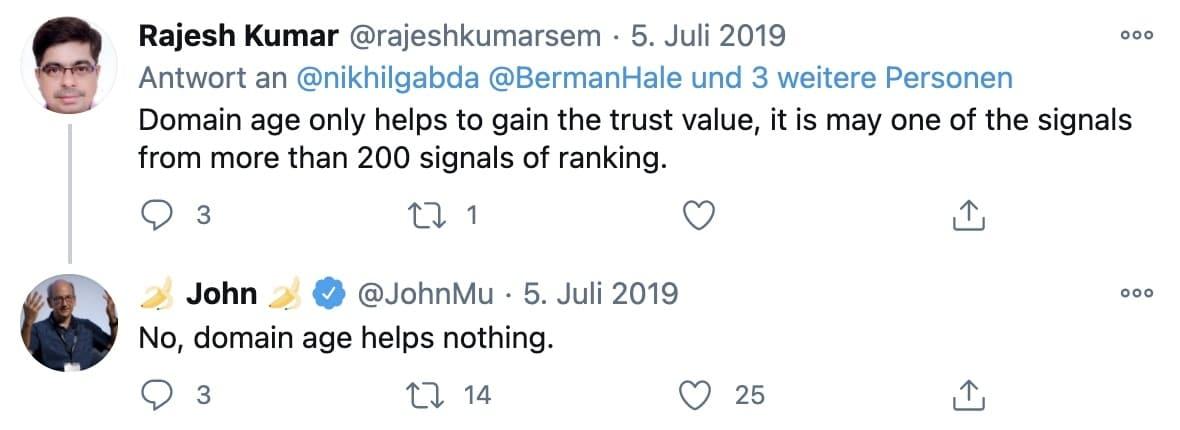 Aussage von John Mueller zum Domainalter auf Twitter