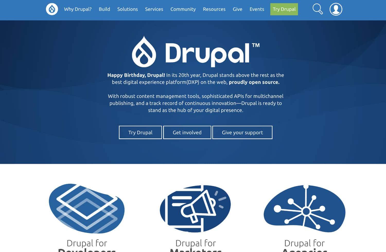 Drupal ist eine WordPress Alternative, die vor allem durch ihrer Sicherheit positiv beeindruckt