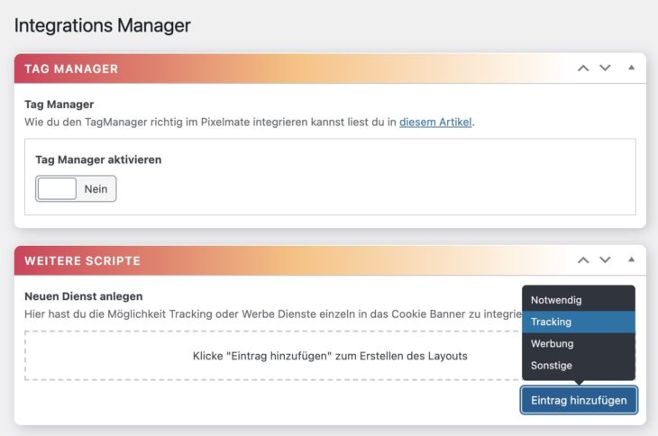 DSGVO Pixelmate Integrations Manager