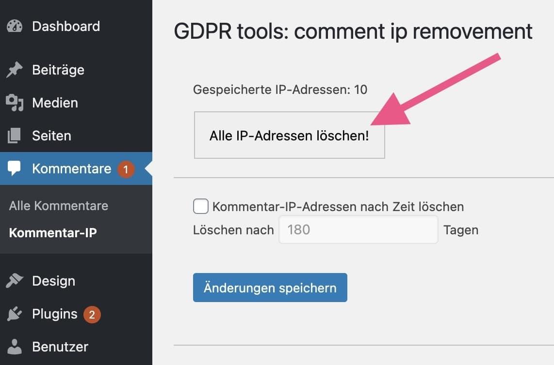 Mit dem Plugin DSGVO Tools: Kommentar-IP entfernen alle IP-Adressen in der Datenbank löschen