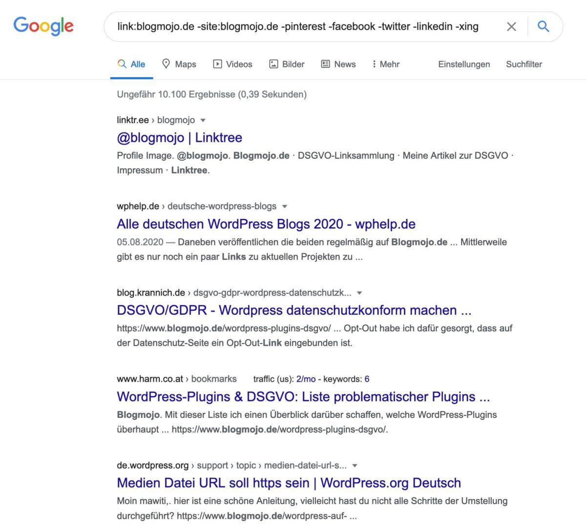 Eigene Backlinks mit dem link: Operator bei Google finden