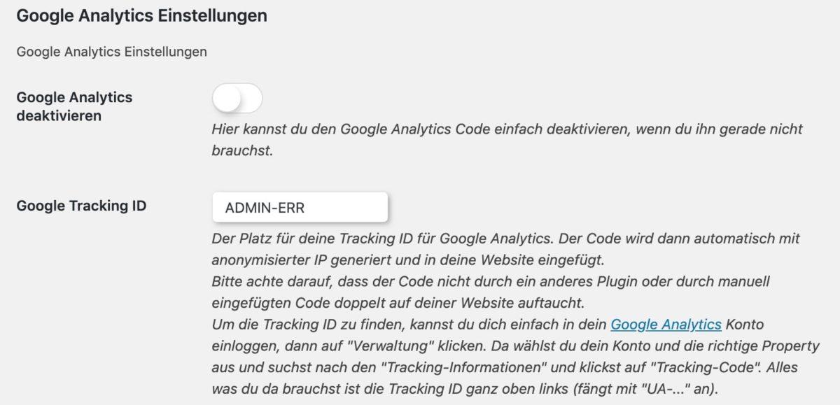 Entrez l'ID de suivi Google sur DSGVO Pixelmate