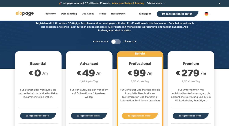 Bei Elopage gibt es vier verschiedene Zahlungspläne. Du kannst den Service sogar kostenlos nutzen.