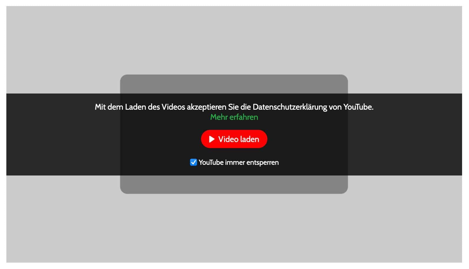 Du kannst mit speziellen Plugins Youtube Videos erst laden, wenn Nutzer dem zugestimmt haben