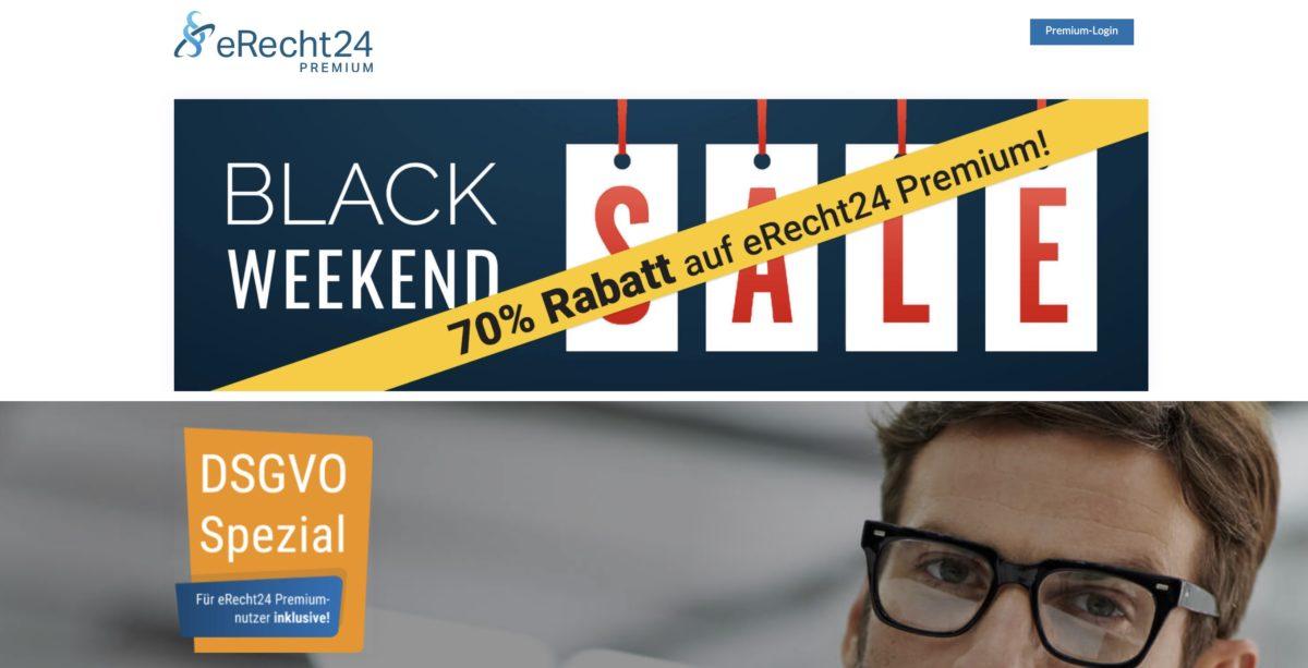 Black Weekend Sale von eRecht24