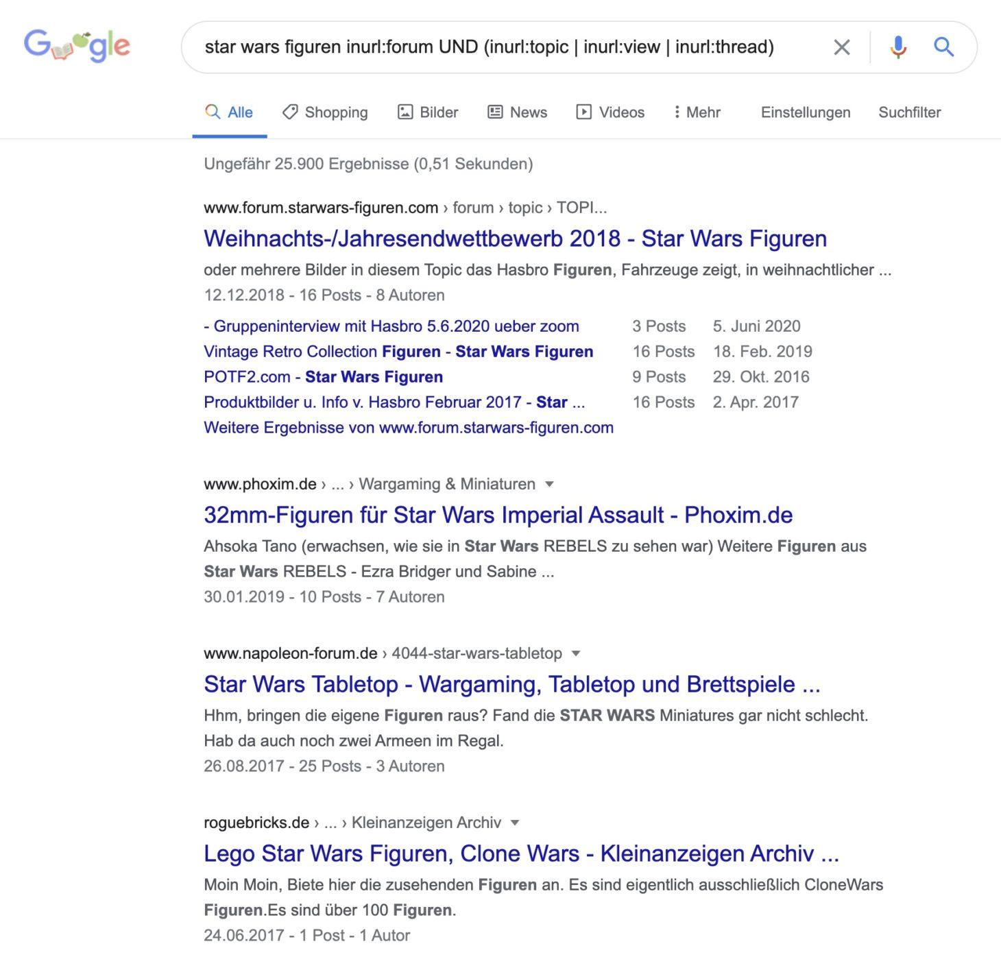 Erweiterter Suchbefehl, um Forendiskussionen zu finden