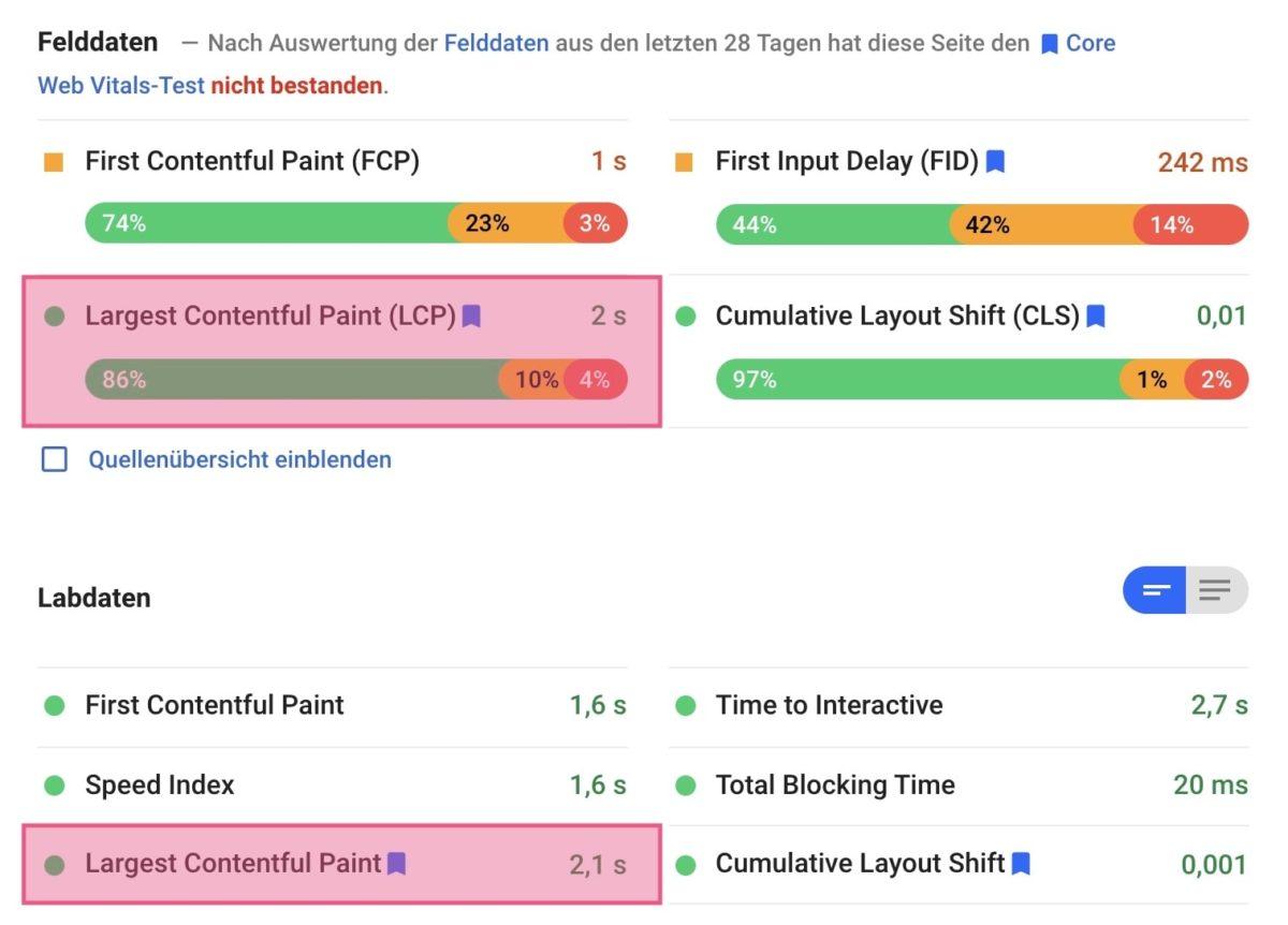 FCP mit PageSpeed Insights messen