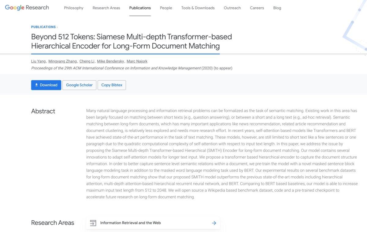 Forschungspapier zu SMITH bei Google Research
