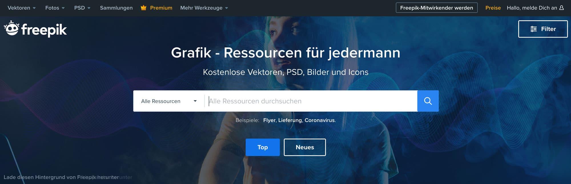 Freepik ist eine riesige Bilddatenbank