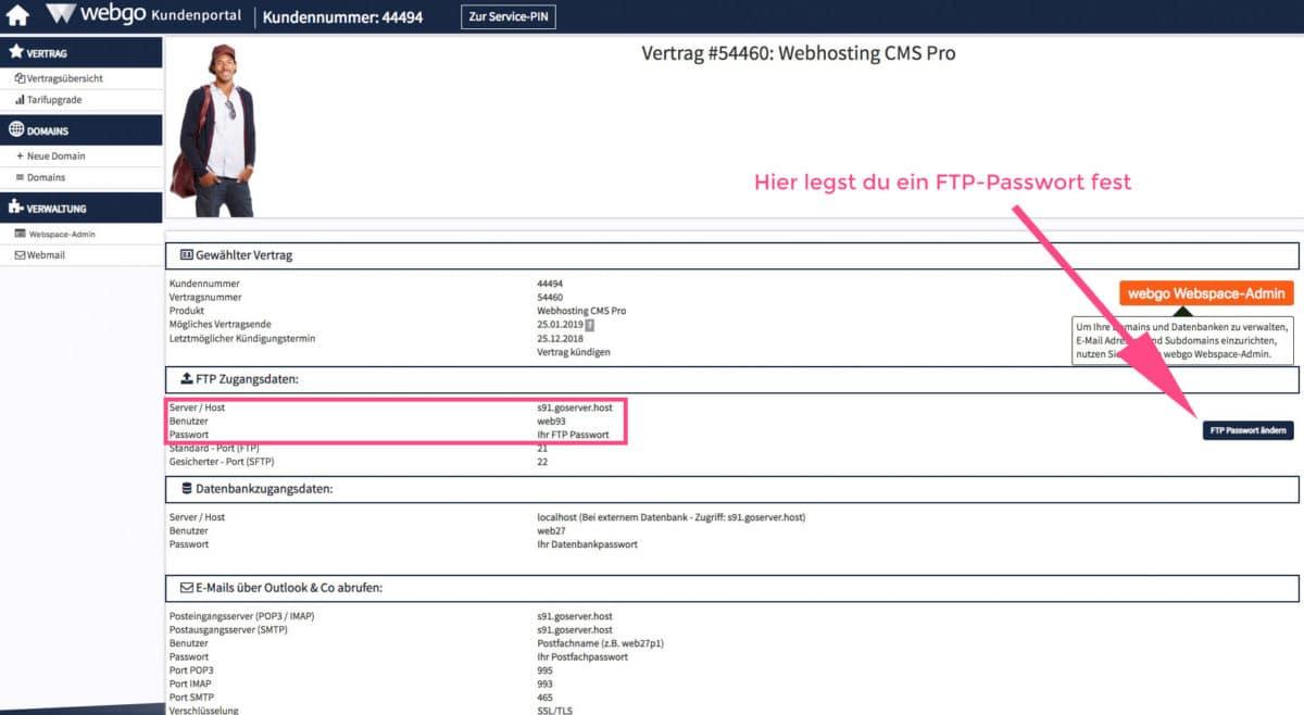 FTP-Zugangsdaten heraussuchen