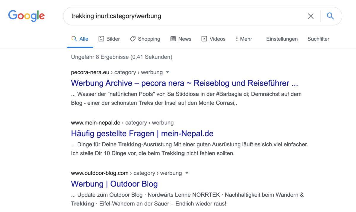 Für Sponsored Posts angelegte Kategorien und Tags mit inurl: Suchoperator bei Google finden