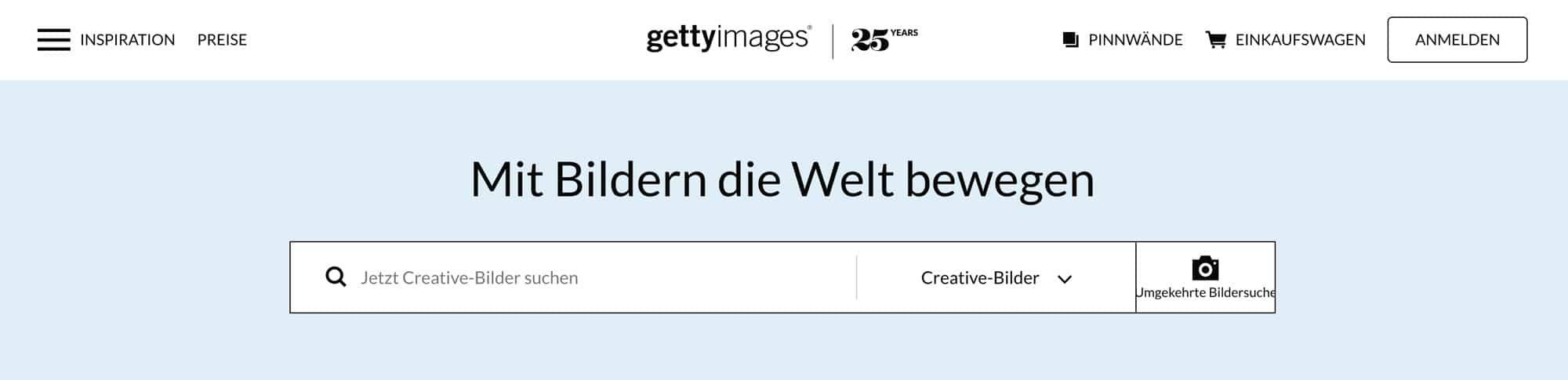 Getty Images ist eine Bilddatenbank für Profis
