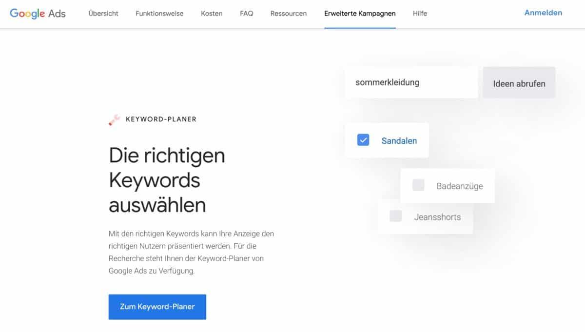 Google Ads Keyword-Planer (ehemals Google Adwords Keyword-Tool)