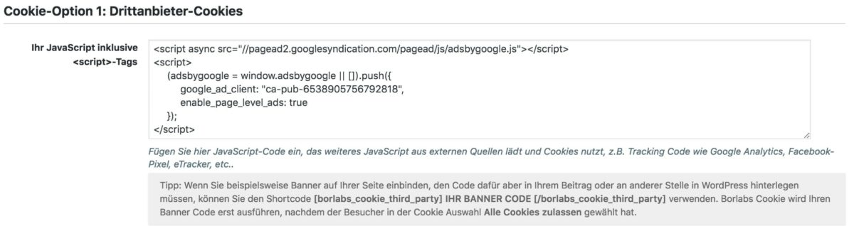Google AdSense Opt-In mit Borlabs Cookie einrichten