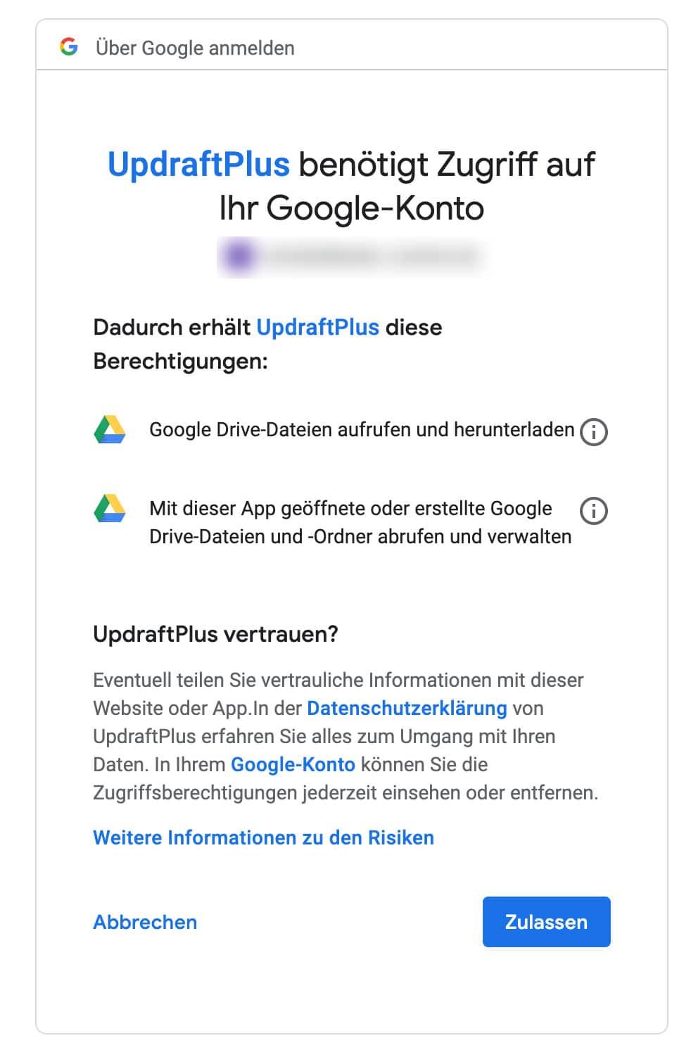 Das Google Drive erfordert die Legitimation von UpdraftPlus