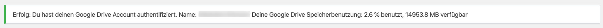 Google bestätigt die erfolgreiche Verknüpfung mit UpdraftPlus