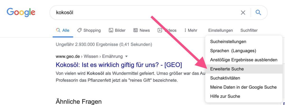 Erweiterte Suche bei Google