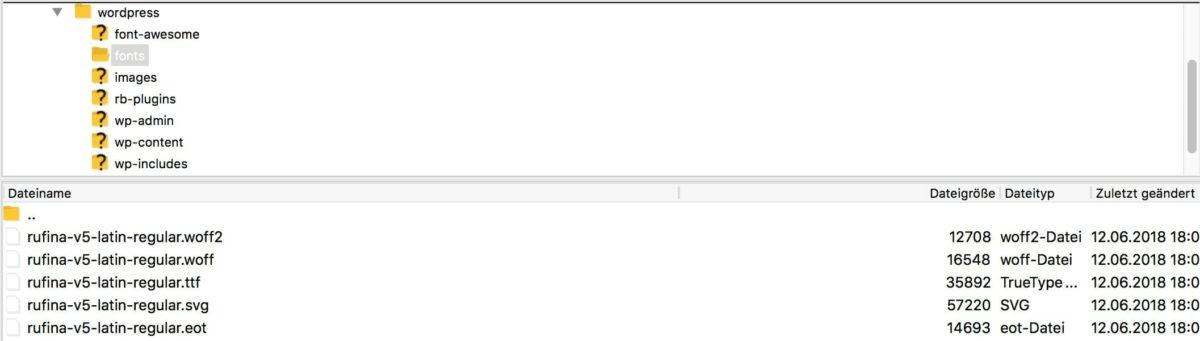 Google Fonts auf FTP-Server hochladen