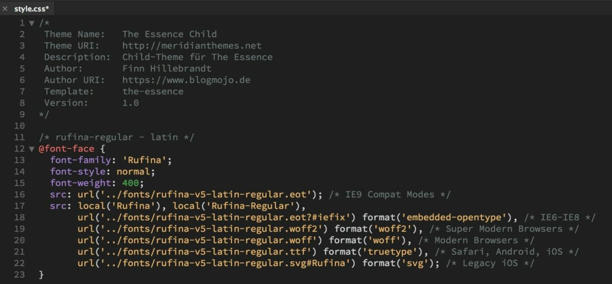 Google Fonts CSS im Child-Theme