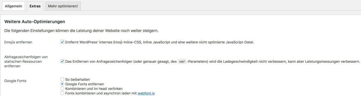 Google Fonts entfernen mit Autoptimize