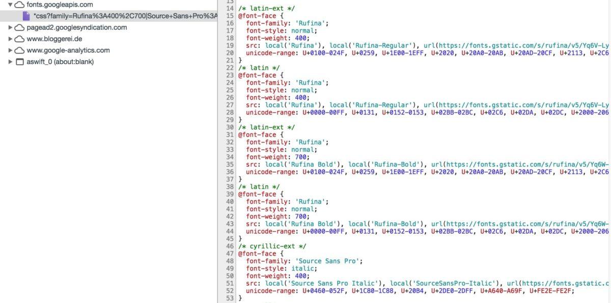Google Fonts in der Entwicklerkonsole