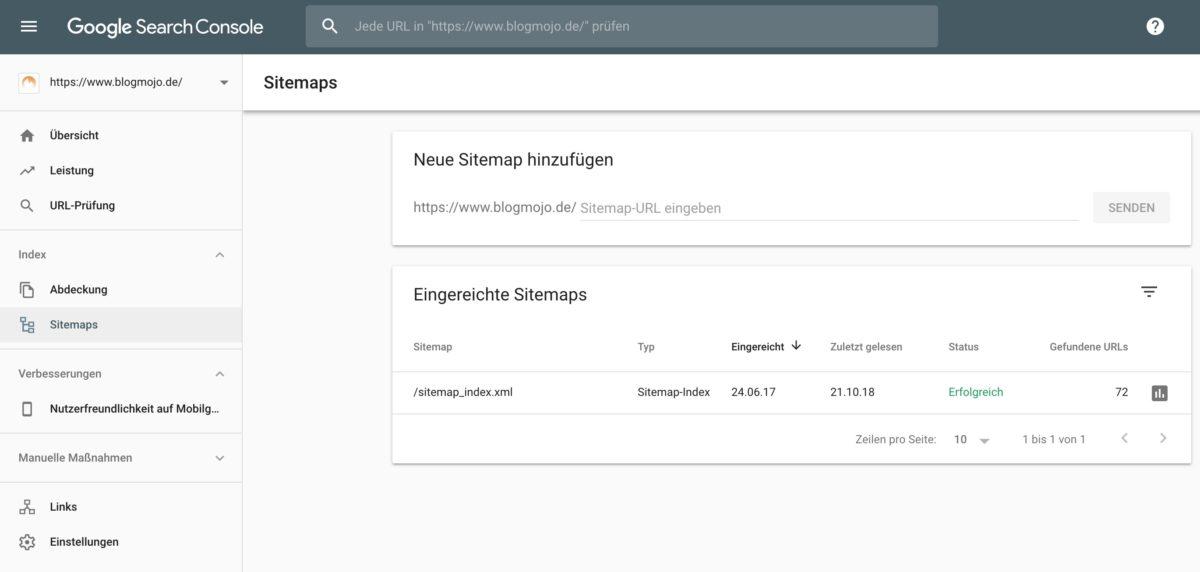 Sitemap in der Google Search Console übermitteln
