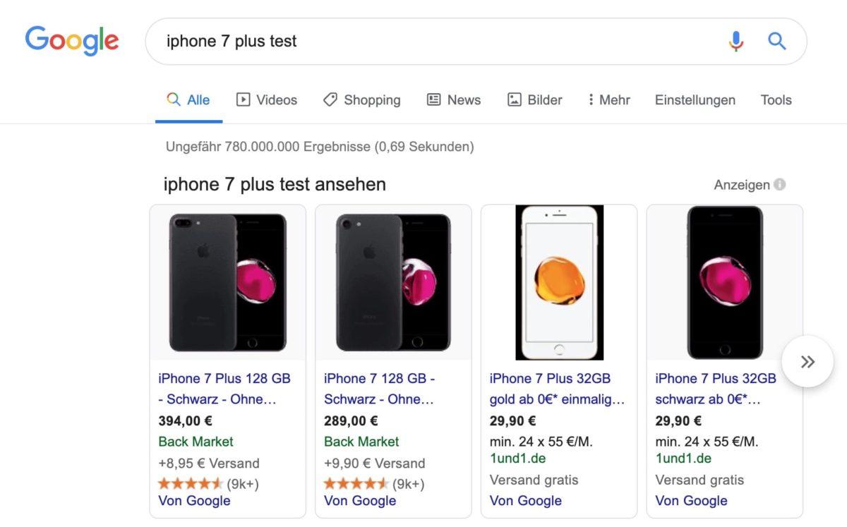 Ergebnisse von Google Shopping bei Know-Keyword