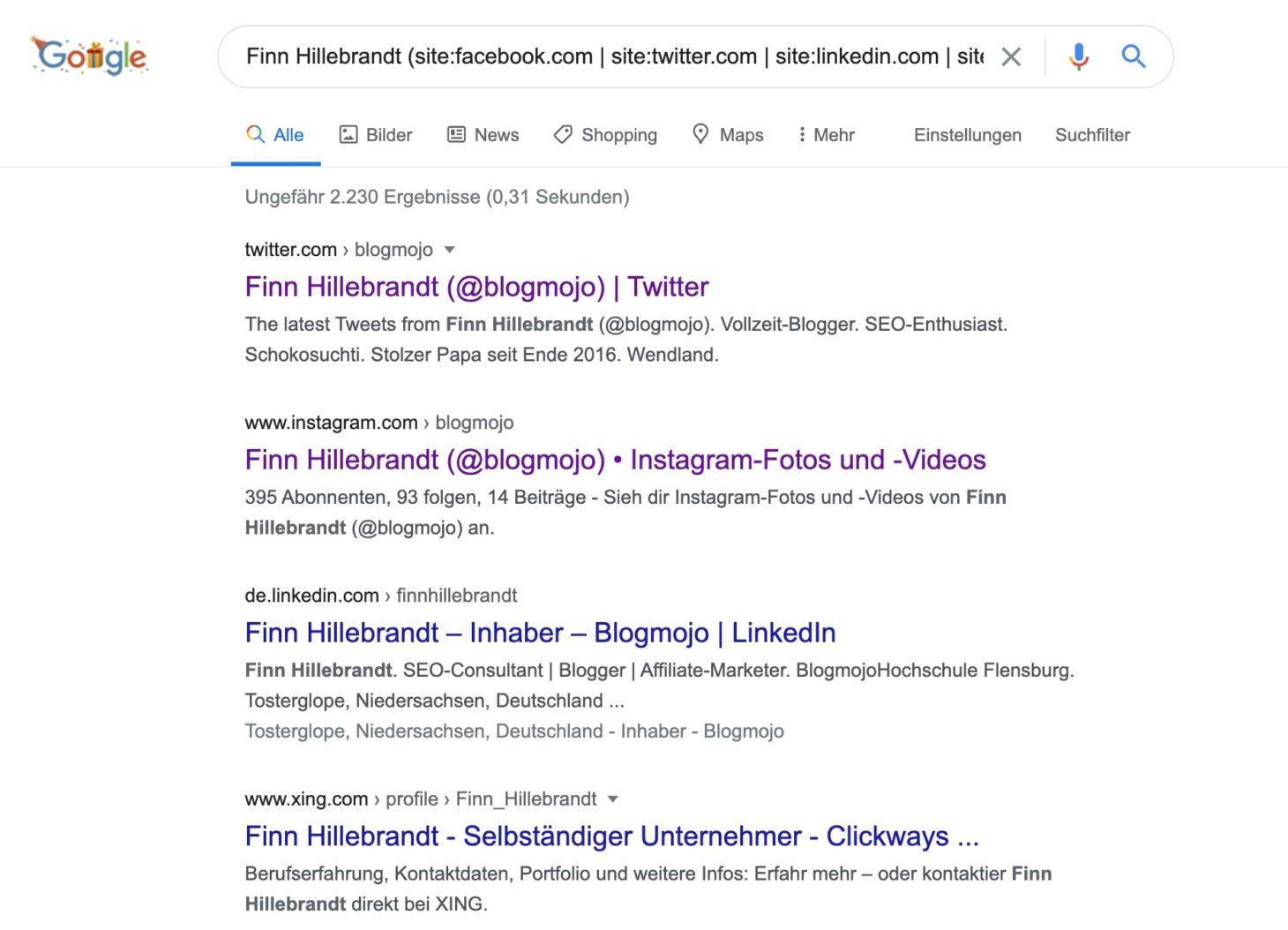 Google-Suchbefehle zum Finden der Social-Media-Profile einer Person