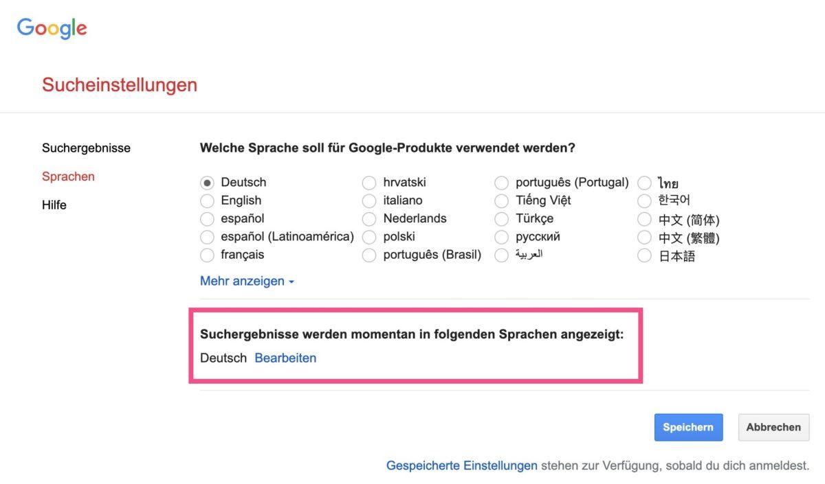 Die Sprache der Suchergebnisse in den Google-Suchergebnissen einstellen