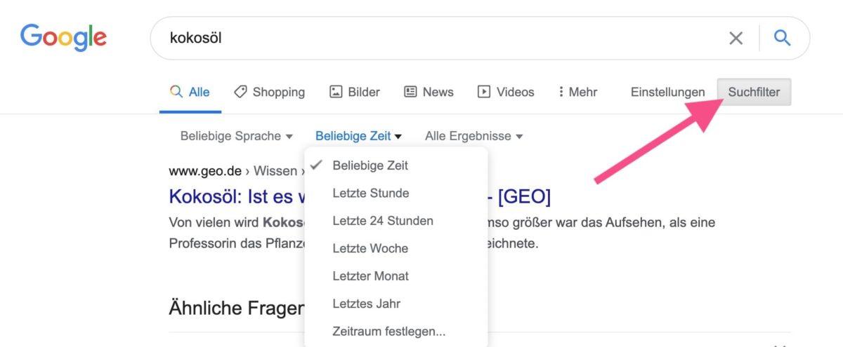 Google-Suchfilter