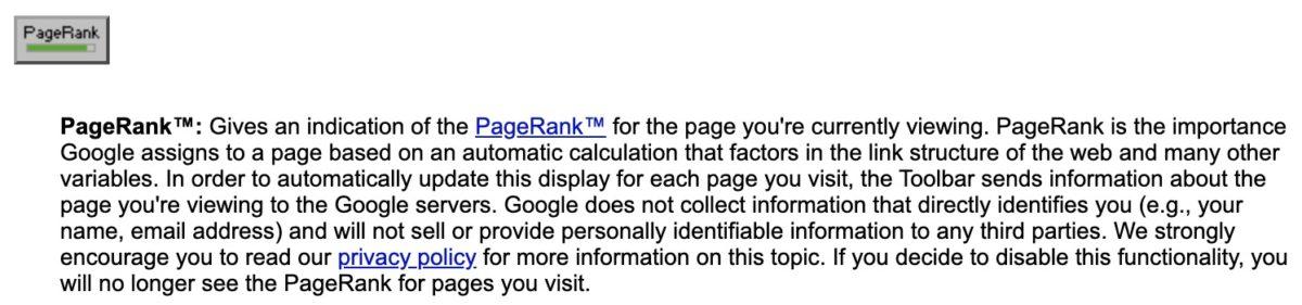 Erklärung des PageRank-Buttons in der Dokumentation zur Google Toolbar