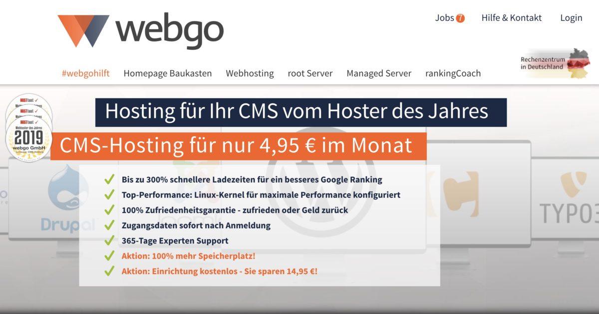 Günstiges Webhosting mit dem CMS Pro Tarif von webgo