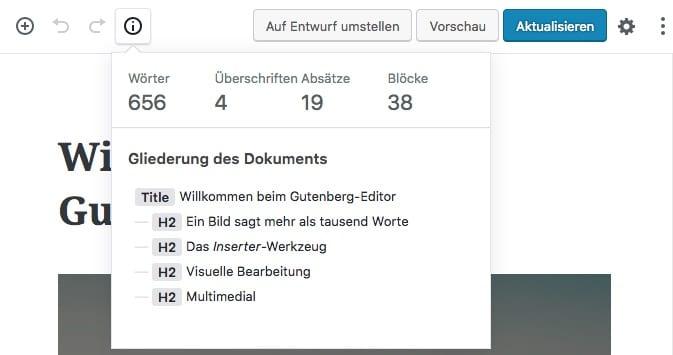 Anzahl der Wörter in Gutenberg anzeigen
