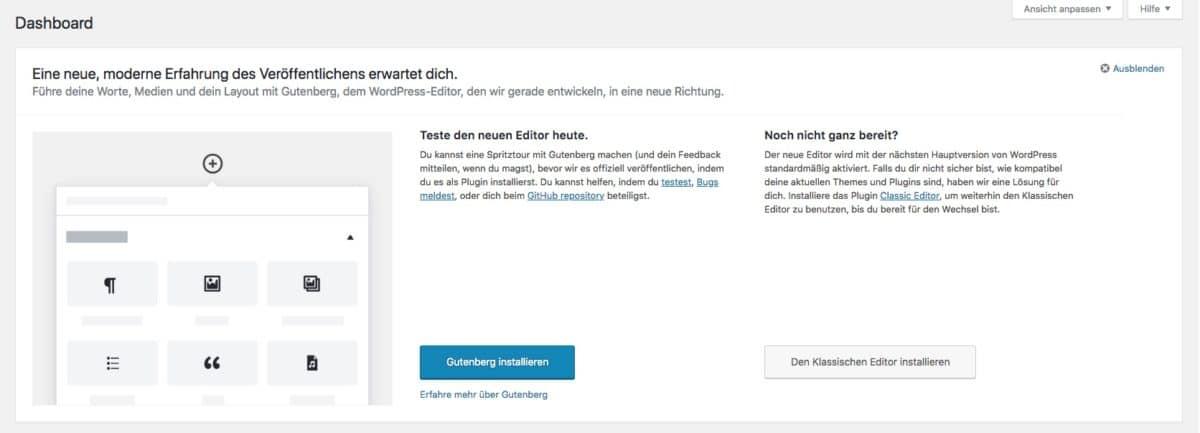 Aufforderung Gutenberg zu testen im WordPress-Dashboard