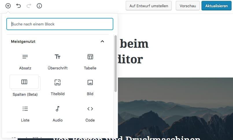 Gutenberg-Block hinzufügen durch Pluszeichen in der Top-Bar
