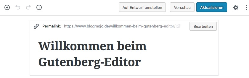 Permalink in Gutenberg anzeigen und ändern