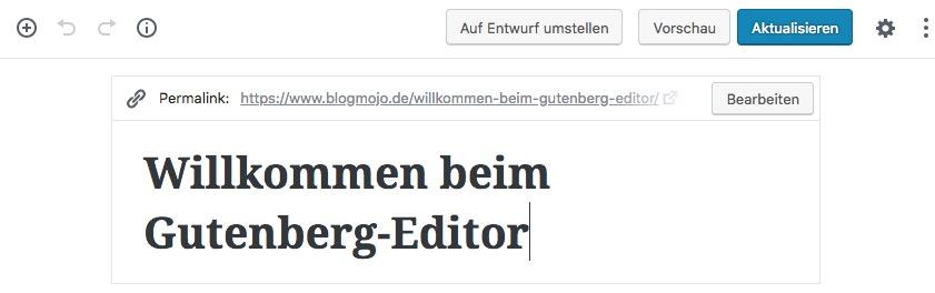 Voir et changer Permalink dans Gutenberg