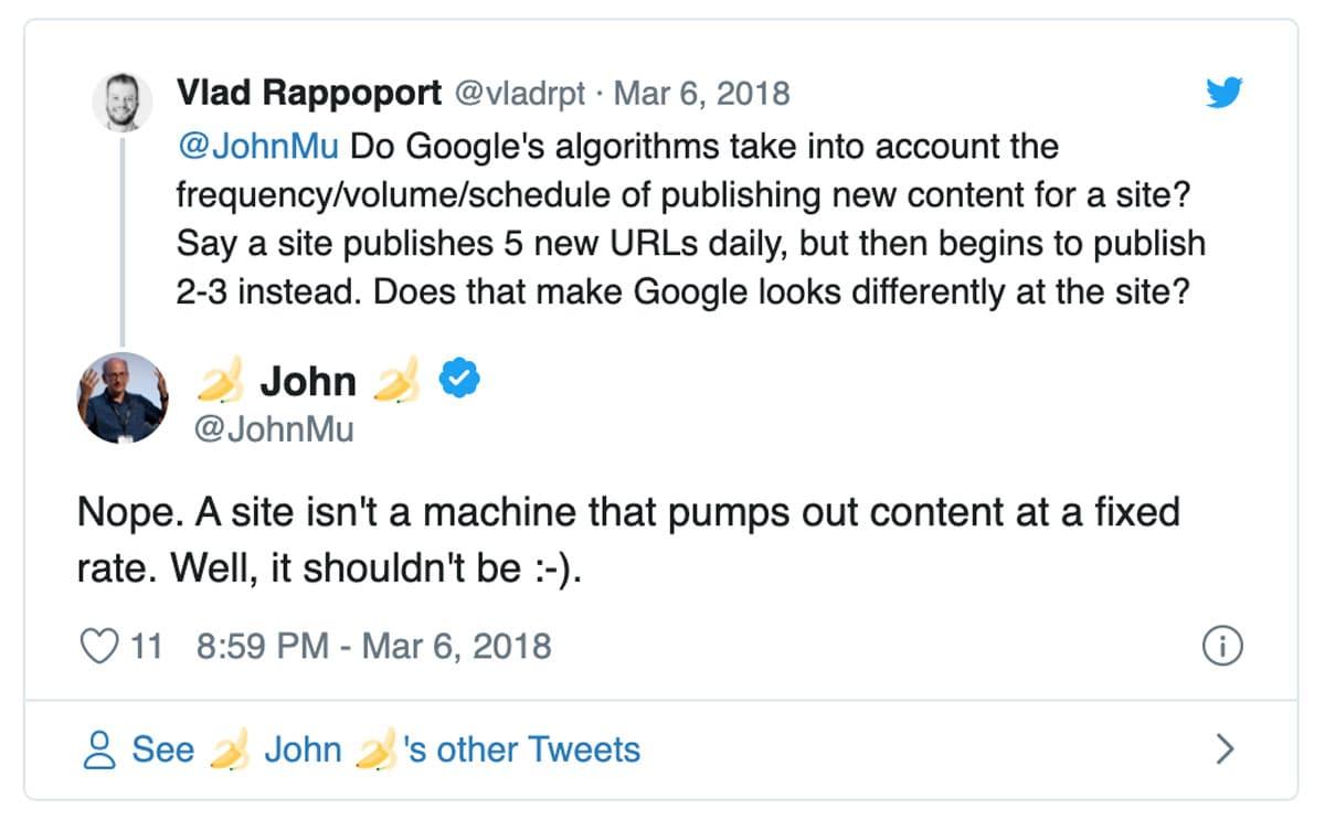 Wie häufig neue Inhalte veröffentlicht werden, ist laut John Mueller kein Ranking Faktor.