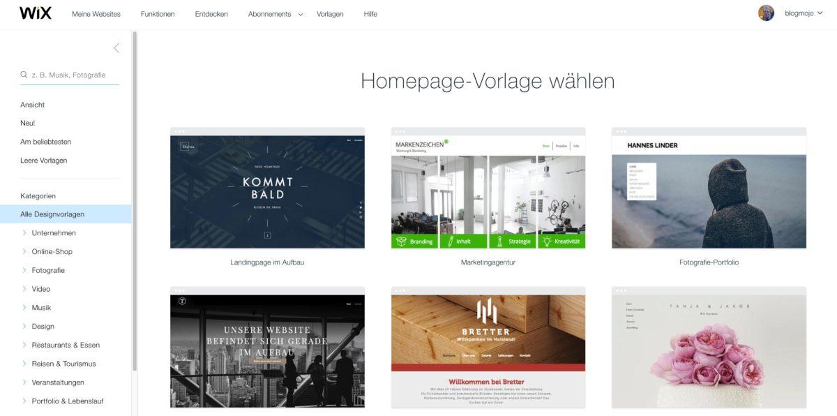 Homepage-Vorlagen bei Wix