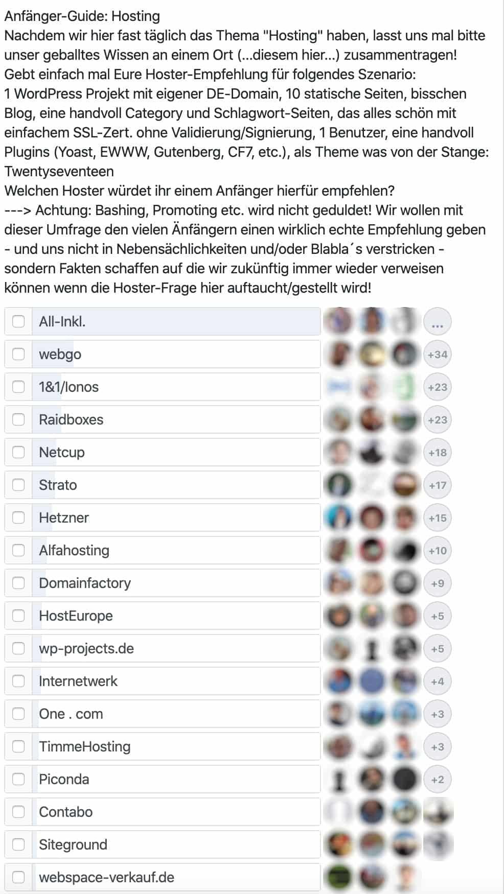 Umfrage in Facebook-Gruppe nach Hoster-Empfehlung