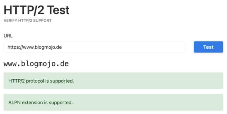 HTTP2 Test von KeyCDN