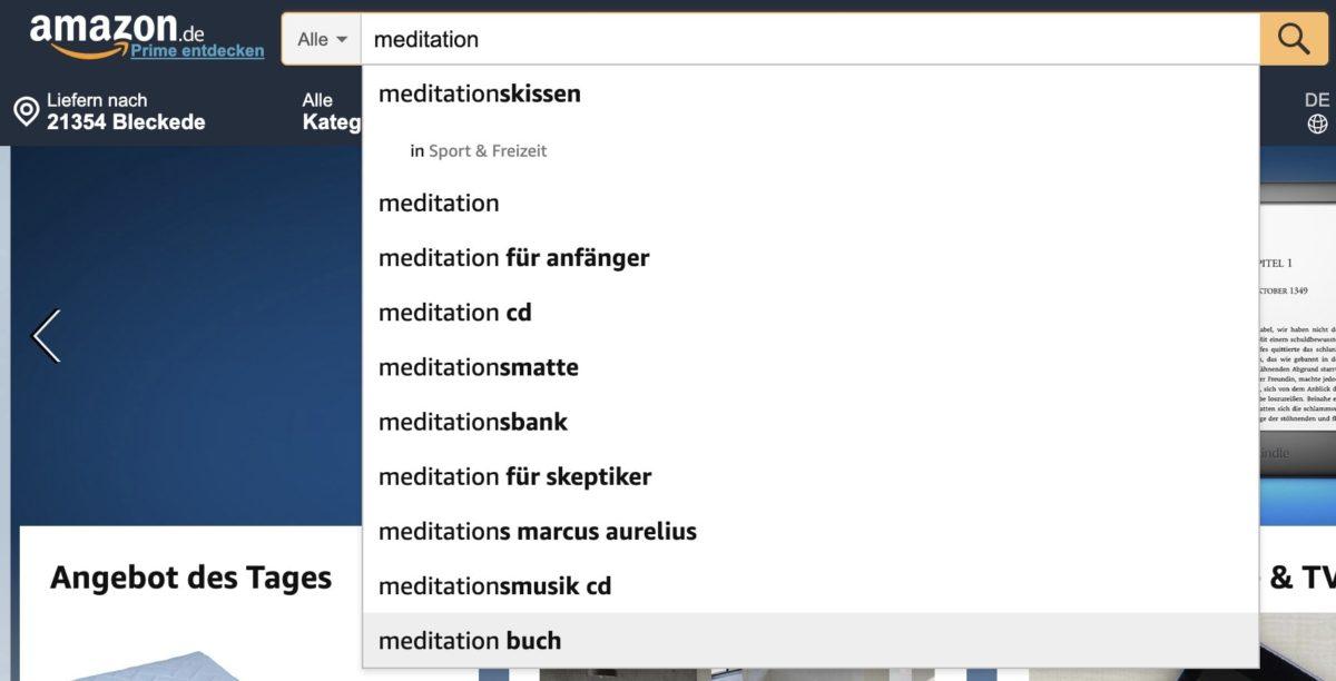 Ideen für Suchbegriffe bei Amazon finden