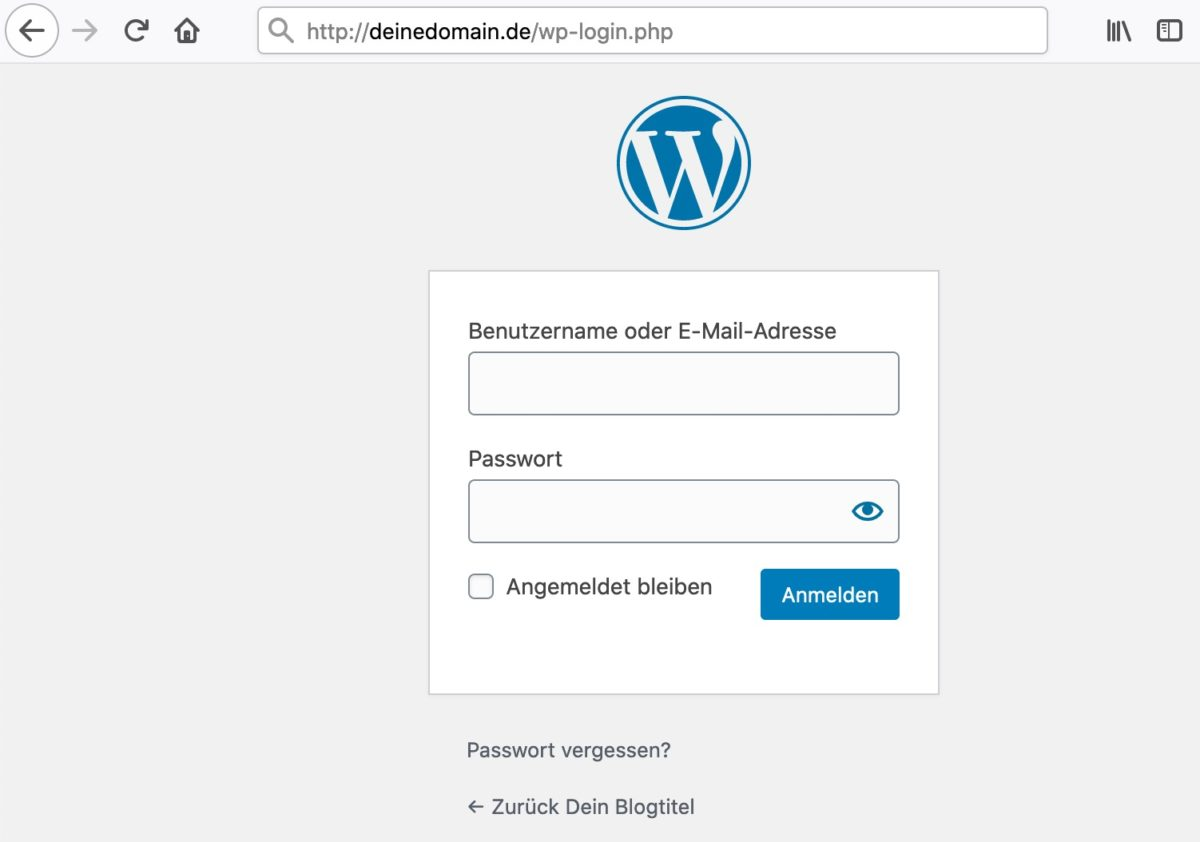 In WordPress einloggen