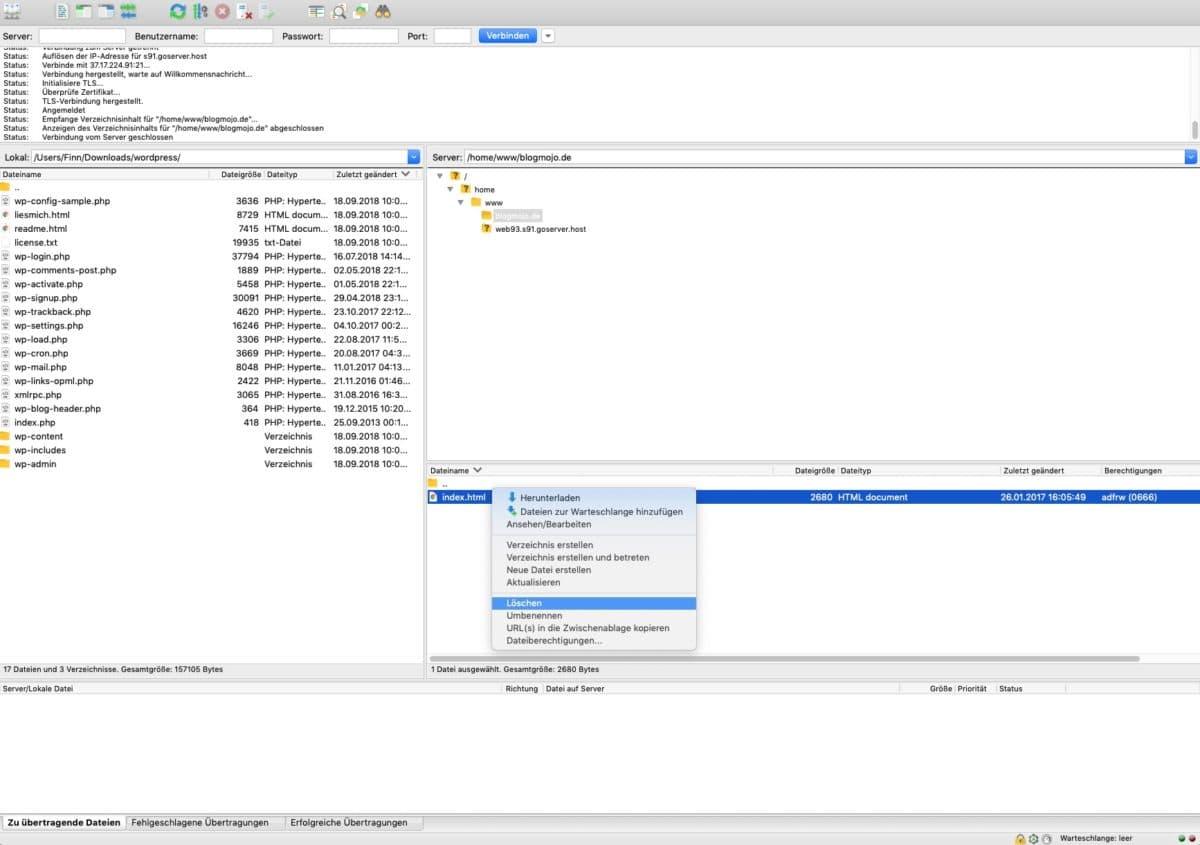 index.html aus Domain-Verzeichnis löschen