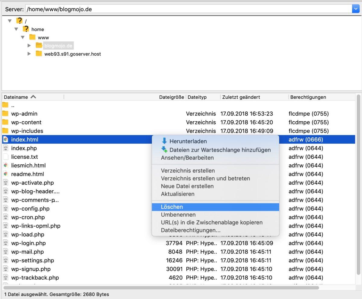Supprimer index.html dans Filezilla