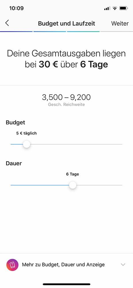 Instagram suiveur gain aperçu du budget de présentation Instagram dans l'application